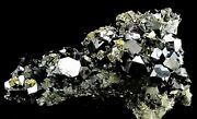 Cluster Of Large Galena Crystal, Chalcopyrite, Pyrite And Quartz - 2034
