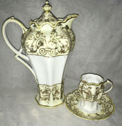 Important Early Unmarked Rc Noritake Nippon 10.5andrdquo Chocolate Pot W Cup And Saucer