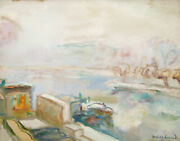 Abel Gerbaud French Drawing Gouache Oil Painting Barges Seine Paris View Winter