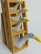 Vintage 1980and039s Avon Porcelain Geese Measuring Spoons W/ Wooden Ladder Stand