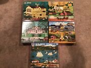 Lot Of 5 Charles Wysocki 1000 Piece Puzzles Free Shipping