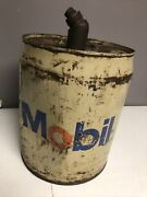 1 Vintage/antique 5 Gallon Mobil Motor Oil Can Both Caps Work Few Small Dents