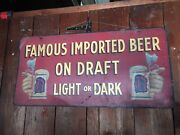 Vintage Beer Sign Imported Double Sided Hand Painted Tin Graphics Draft Rare