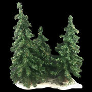 Vintage Dept 56 Set Of 3 Christmas Trees With Wood Base - 17 Inch Tall