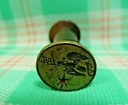 Antique Colonial Bird Pun Name Fowler With Eagle And Star Sealing Wax Stamp Seal