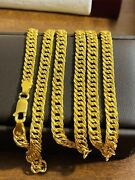 """22k 916 Fine Yellow Real Uae Gold 26"""" Long Mens Adult Curb Necklace 5.5mm 20.6g"""