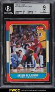 1986 Fleer Basketball Hakeem Olajuwon Rookie Rc 82 Bgs 9 Mint