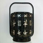 Antique Chinese Lacquer And Mother Of Pearl Qing Dynasty Wedding Basket Lunch Box