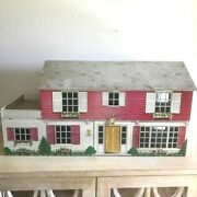 Vintage 1950/60s Marx Tin Litho Two Story Pink /red Dollhouse