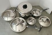 13 Piece Set Stainless Steel Kenmore Pots And Pans Including Lids - Used -