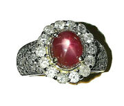 Large Star Ruby Diamond Ring 14k Real Solid Gold Quality Stunning Estate 5 Tcw