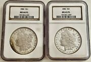 Two-- 1886 Ngc Certified Prooflike U.s. Morgan Silver Dollars Ms64 Pl And Ms63 Pl