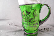 Vintage Art Deco Silver Overlay Flowers Glass Water / Ice Tea Pitcher