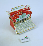 New French Limoges Trinket Box Christmas Typewriter Dear Santa Klaus And Letter
