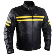 Motorcycle Leather Jacket For Men Black Moto Riding Racer Retro Biker Ce Armored