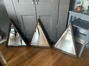 Ethan Allen Mirrors 1970's Wood Triangular Wall Accent Set Of 3