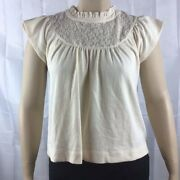 Madewell Lace Inset Superlight Jacquard Top Size Xl Antique Cream