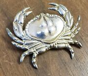 Signed B Gould Sterling Silver Crab Pin Brooch Pendant Vtg Beach Figural Fishing