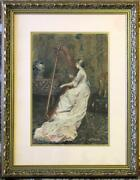 Original Antique Gouache By Codina Y Langlin Young Woman At The Harp