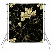 Vector Cosmos Floral Botanical Flowers Pole Pocket Backdrop