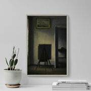 Vilhelm Hammershoi - Interior With The Artistand039s Easel 1910 Poster Art Print