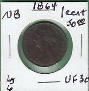1864 New Brunswick One Cent Coin -large 6 - Vf-30