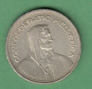 1933 Switzerland 5 Francs Silver Coin -
