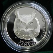 Canada 2000 50 Cents Great Horned Owl Silver Birds Of Prey - Sealed