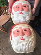 Vintage Large Santa Claus Head Face Christmas Blow Mold Lamp Post Light Cover
