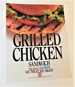 Vintage Dairy Queen Grilled Chicken Sandwich Promotional Poster Sign