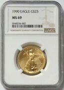 1990 Gold 1/2 Oz 25 American Eagle Ngc Mint State 69 Rare Key Date