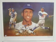 Roy Campanella Signed Autographed Christopher Paluso Lithograph Dodgers Psa/dna