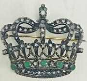 Antique 18k Gold Rose Cut Diamond Emerald Crown Brooch Sold By Aituzzi Jewelry