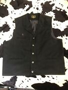 Wyoming Traders Western Mens Black Cotton Button Front Lined Vest Size Xxl