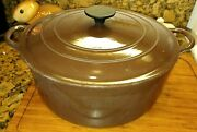 Vintage Le Creuset G 7-1/4 Dutch Oven Brown W/lid Vg Overall 11 1/4 Across 5