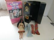 Vintage 1977 Mego Doll Cher Travel Trunk With Box Clothing And Doll
