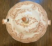 """Brown And Cream Quail Soup Tureen By Furnivals Made In England 13 1/2"""" Wide"""