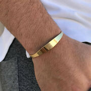 Fine Jewelry 18 Kt Hallmark Real Solid Yellow Gold Menand039s Cuff Bracelet 15 Grams