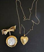 Vintage Lot 2 Gold Plated Heart Picture Lockets Pin With Vintage Pictures Inside