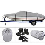 14-22ft 600d Oxford Fabric Waterproof Boat Cover For V-hull Runaboutsandbass Boats