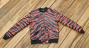 Exclusive Game Custom Menand039s Medium Leather Jacket Zebra Hip-hop Atlanta Bred
