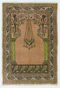 3.6x5.2 Ft Vintage Prayer Rug Depicting A Chandelier Couple Of Columns And Flower