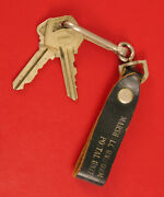 Antique Leather Key Chain Fob Advertising Postal Uniforms Marshall Chicago Rare