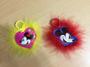 Set Of 2 Disney Fur Keychains From Barbie Loves Mickey And Minnie Mouse Dolls