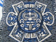 Vintage Tlaxcala Textiles Blue And White Woven Shoulder Bag Aztec Mexican