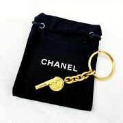 Gold Whistle Bag Charm Key Ring Keychain W/pouch Vintage