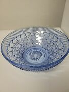 Vintage Indiana Glass Windsor Button And Cane Blue Candy Dish Bowl 10 1/2andrdquo