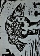 ✔️ Charles Hewitt Fish In Fist Woodcut In Two Colors Signed In Pencil