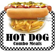 Hot Dog Combo Meals Decal Choose Your Size Food Truck Concession Vinyl Sticker