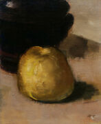 French Oil Painting Oil Canvas Still Life Study Quince Fruit Art Modern 19th C.